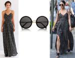 Vanessa Hudgens' Ecote Strappy Back Safari Maxi Dress And The Row Round-Frame Sunglasses