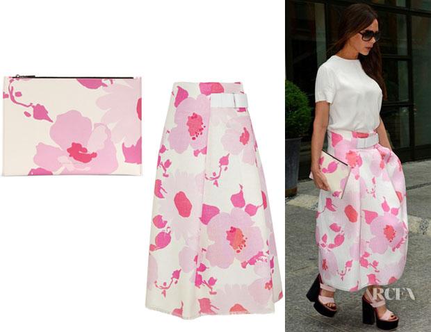 Victoria Beckham's Victoria Beckham Belted Floral-Print Skirt And Victoria Beckham Clutch