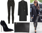 Victoria Beckham's Victoria Beckham Felted Wool Coat, Floral Stretch-Jacquard Skinny Pants, Zipped Clutch And Casadei Pumps