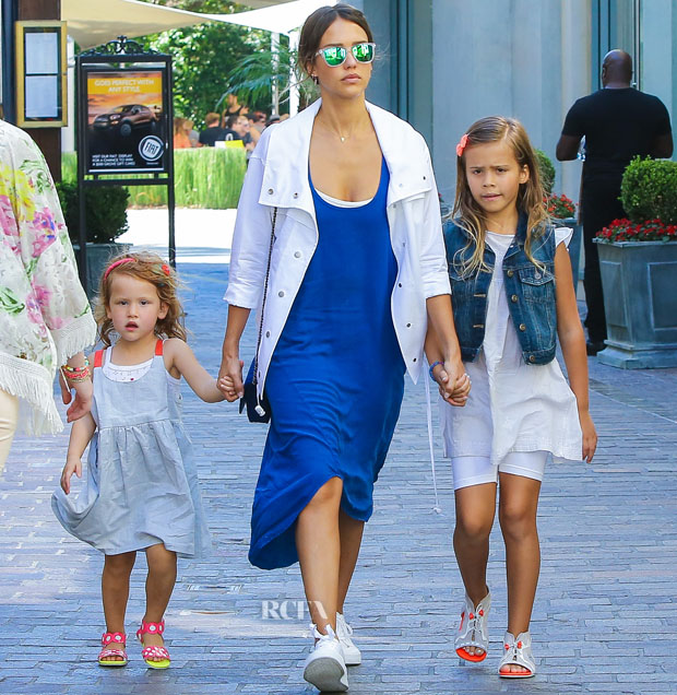 *EXCLUSIVE* Los Angeles, CA - Jessica Alba takes her girls Haven and Honor to The Grove in Los Angeles. Jessica held hands with her girls in a blue dress and white coat while little Honor looked adorable in a denim vest, a white dress and peep toe sandals, while her little sis Haven wore a cute little dress with polka dot sandals. AKM-GSI    July  12, 2015 To License These Photos, Please Contact : Steve Ginsburg (310) 505-8447 (323) 423-9397 steve@akmgsi.com sales@akmgsi.com or Maria Buda (917) 242-1505 mbuda@akmgsi.com ginsburgspalyinc@gmail.com