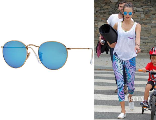 Alessandra Ambrosio wearing Ray-Ban Round-Frame Gold-Tone Sunglasses