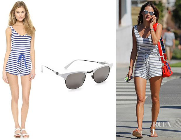Alessandra Ambrosio's Solid & Striped Striped Romper And Westward Leaning 'Vanguard' Sunglasses
