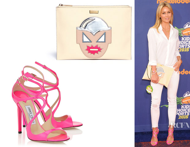 Alex Gerrard's Jimmy Choo 'Lance' Sandals And Stella McCartney Zipped Clutch