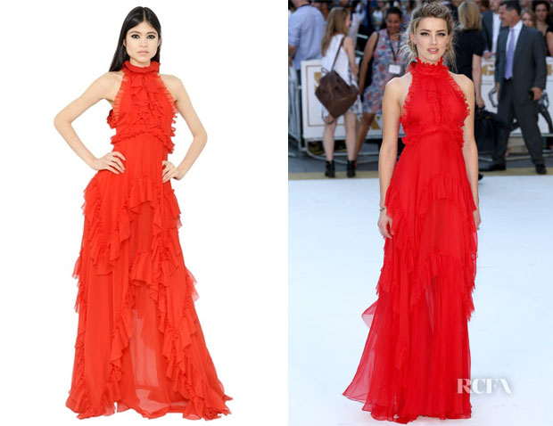 Amber Heard's Emilio Pucci Open Back Ruffled Silk Chiffon Dress