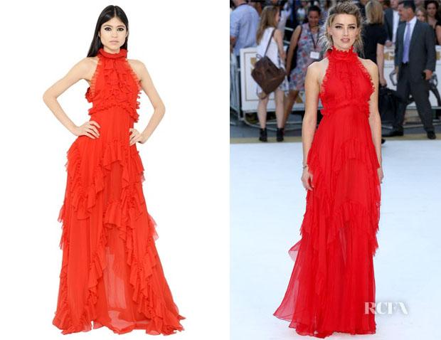 Amber Heard's Emilio Pucci Open Back Ruffled Silk Chiffon Dress
