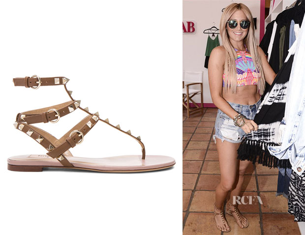 Ashley Tisdale's Valentino 'Rockstud' T-Strap Sandals