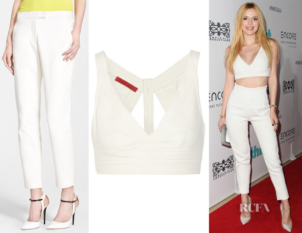 Bella Thorne's Tamara Mellon Cutout Bra Top And Tamara Mellon Leather Cigarette Pants