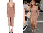 Beyonce Knowles' Self-Portrait Plunging Ribbed-Knit Dress