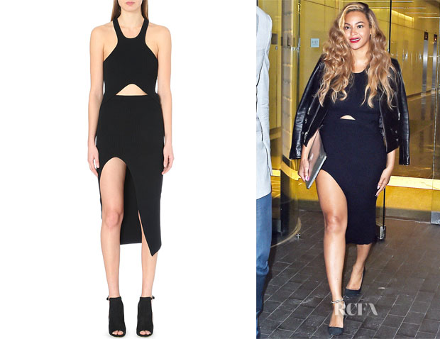 Beyonce Knowles' Self-Portrait Racer Ribbed Stretch-Knit Dress