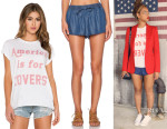 Beyonce Knowles' The Laundry Room 'America Is For Lovers' Rolling Tee And Soft Joie 'Ona B' Shorts