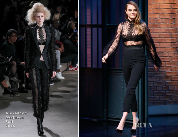 Cara Delevingne In Alexander McQueen - Late Night with Seth Meyers