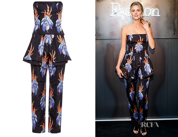 Donna Air's Caterina Gatta Moire Floral-Print Satin Jumpsuit