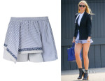 Gwyneth Paltrow's Thakoon Addition Asymmetric Layer Striped Shorts