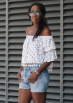 Tularose Alexa Top, Urban Renewal Vintage Originals Blue Raw Cut Shorts, ASOS FELT Cut Out Two Part Leather Sandals, Orelia Bracelet  and Ray-Ban 'Original Aviator' Sunglasses