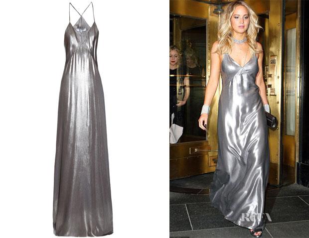 Jennifer Lawrence's Galvan Metallic Lamé Gown