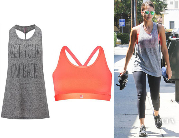 Jessica Alba's Sweaty Betty 'Om' Yoga Vest And Sweaty Betty 'Upbeat' Padded Bra