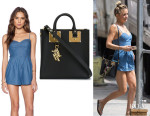 Kate Hudson's Lovers + Friends 'Gardenia' Romper And Sophie Hulme Top Zip Square Tote