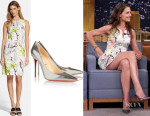 Katie Holmes' Milly Scribble Print Sheath Dress And Christian Louboutin 'Décolleté' metallic leather pumps