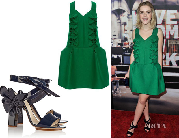 Kiernan Shipka's Delpozo Double Poplin Dress And Delpozo Appliquéd Patent-Leather Sandals