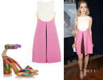 Kiernan Shipka's Valentino Colour-Block Mini Dress And Valentino Printed Leather and Plexiglas Sandals