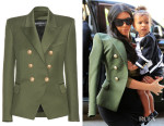 Kim Kardashian's Balmain Double-Breasted Wool Blazer