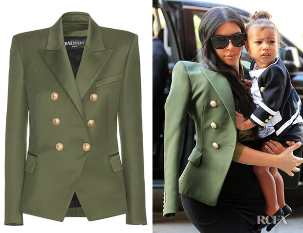 Well known Kim Kardashian's Balmain Double-Breasted Wool Blazer - Red Carpet  JE53