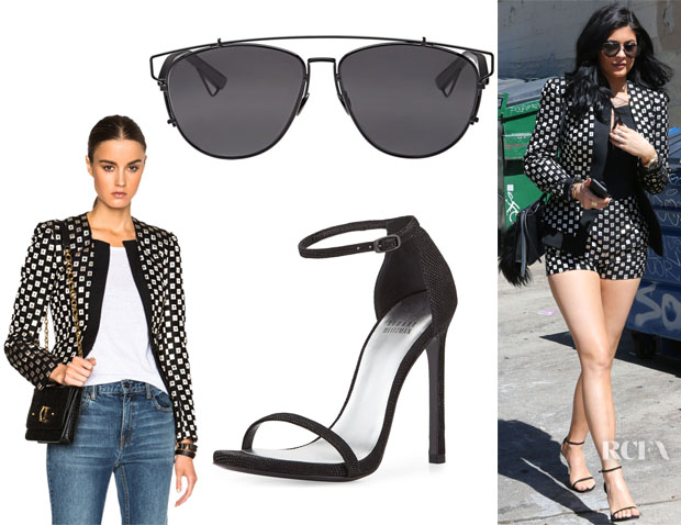 Kylie Jenner's Sass & Bide Contrasts Voyage Jacket, Dior 'Dior Technologic' Sunglasses And Stuart Weitzman 'Nudist' Sandals