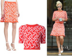 Lady Gaga's Tanya Taylor 'Robin' Jacquard Knit Sweater And Tanya Taylor 'Maia' Jacquard Knit Skirt