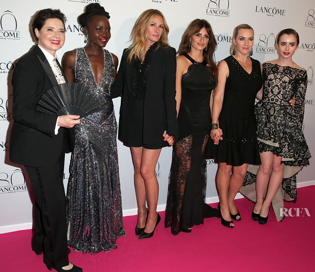 PARIS, FRANCE - JULY 07:  Isabella Rossellini, Lupita Nyong'o, Julia Roberts, Penelope Cruz, Kate Winslet and Lilly Collins attend the Lancome 80th Anniversary Party as part of Paris Fashion Week Haute Couture Fall/Winter 2015/2016 on July 7, 2015 in Paris, France.  (Photo by Pierre Suu/WireImage)