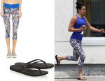 Lea Michele's Primsport 'Batik' Capri Leggings And Havaianas Slim Rubber Flip Flops