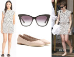 Lily Collins' Kate Spade New York Dot Print Crepe Romper, Chloé 'Lauren' Ballerinas And Dita 'Magnifique' Sunglasses