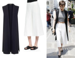 Lily Collins' Topshop Sleeveless Duster And Elizabeth and James 'Presli' Cropped Wide-Leg Pants