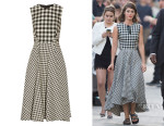 Lizzy Caplan's Lela Rose Gingham Jacquard Midi Dress