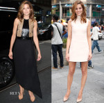 Michelle Monaghan In Salvatore Ferragamo & Calvin Klein Collection - 'The View' & NASDAQ MarketSite Visit