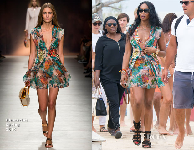 Naomi Campbell In Blumarine - Out In St Tropez