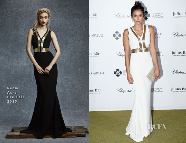 Nina Dobrev In Reem Acra - The Leonardo DiCaprio Foundation 2nd Annual Saint-Tropez Gala