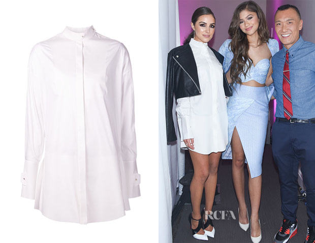 Olivia Culpo's Esteban Cortazar Band Collar Long Shirt