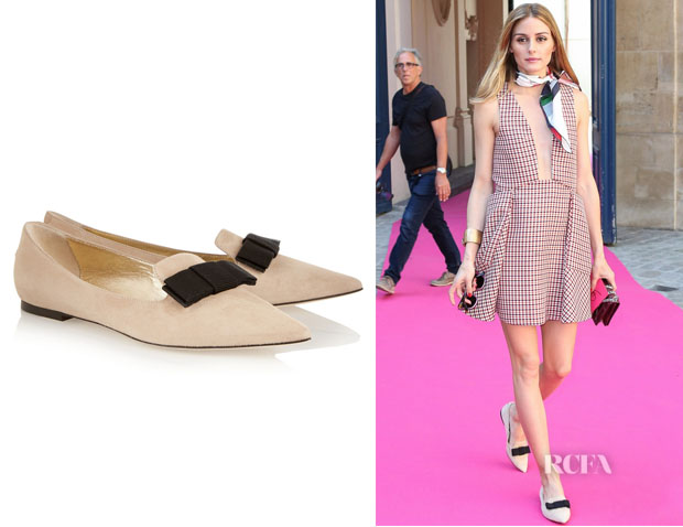 Olivia Palermo's Jimmy Choo 'Gala' Suede Point-Toe Flats