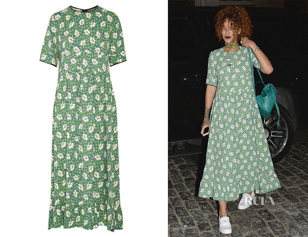 Rihanna's Marni Floral-Print Crepe Dress