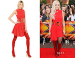 Rita Ora's Versace Cutout Viscose Blend Crepe Dress