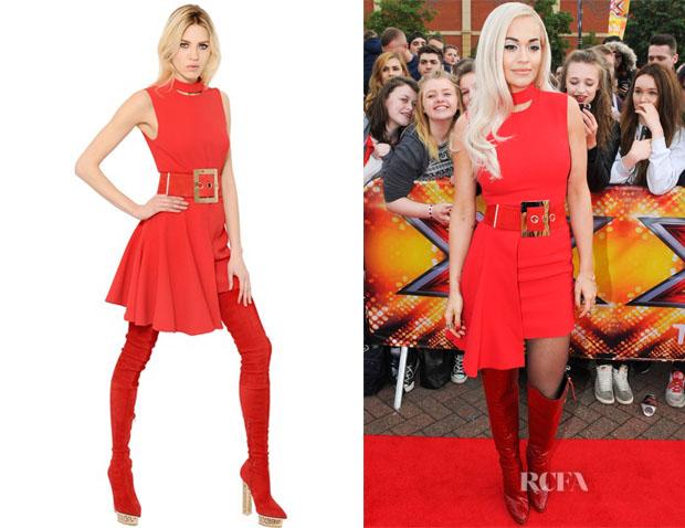 Rita Ora's Versace Cutout Viscose Blend Crepe Dress