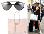 Rosie Huntington-Whiteley's Dior 'So Real' Sunglasses And Balenciaga 'Papier A4' Leather Tote
