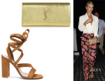 Rosie Huntington-Whiteley's Saint Laurent 'Cassandre' Monogramme Clutch And Gianvito Rossi Suede Sandals