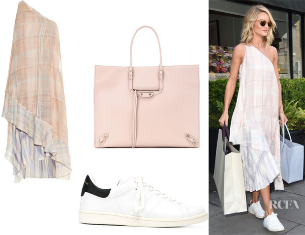 Rosie Huntington-Whiteley's Stella McCartney 'Rosa' Check-Print Silk Dress, Étoile Isabel Marant 'Bart' Sneakers And Balenciaga 'Papier A4' Leather Tote