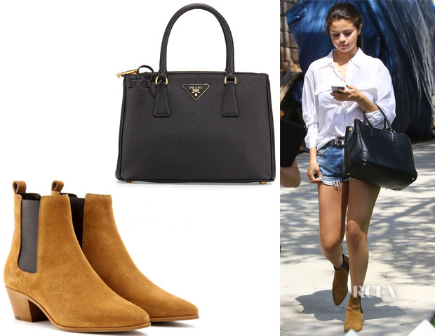 Selena Gomez' Saint Laurent 'Wyatt Chelsea' Boots And Prada 'Saffiano Lux' Tote