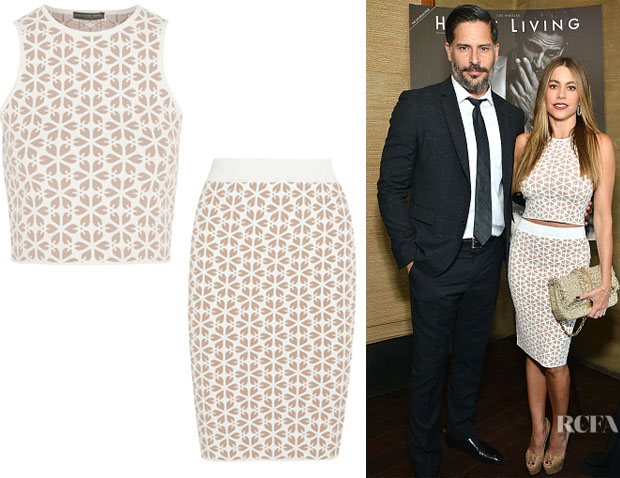 Sofia Vergara's Alexander McQueen Cropped Jacquard-Knit Top And Alexander McQueen Jacquard-Knit Pencil Skirt