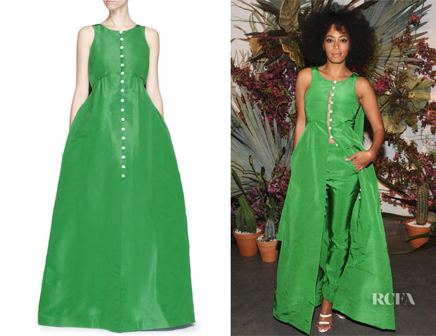 Solange Knowles' Rosie Assoulin 'Thumper' Button Detail Silk Gown