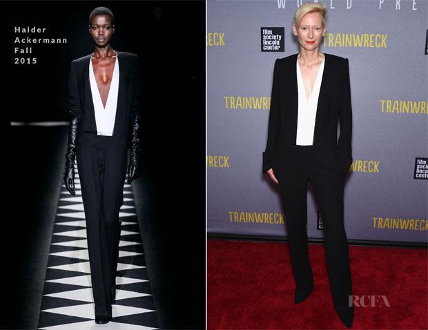 Tilda Swinton In Haider Ackermann - 'Trainwreck' New York Premiere