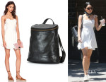 Vanessa Hudgens' For Love & Lemons 'Sahara' Mini Dress And Frye 'Campus' Backpack