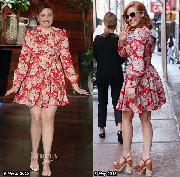 Who Wore Saint Laurent Better...Lena Dunham or Jessica Chastain?
